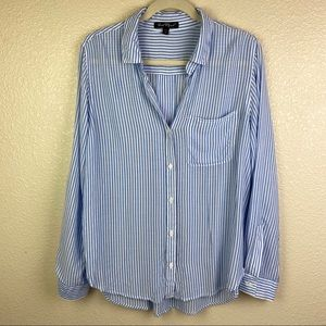 Velvet Heart Shirt Sz M Button Down Blue Stripe